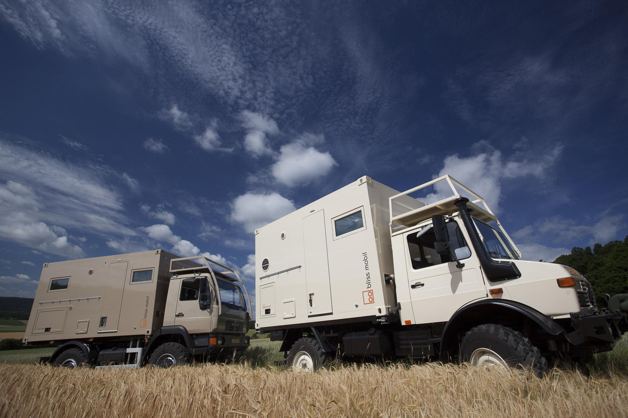 Bliss Mobil 11 und 13 Fuß Kabinen auf MAN und Unimog