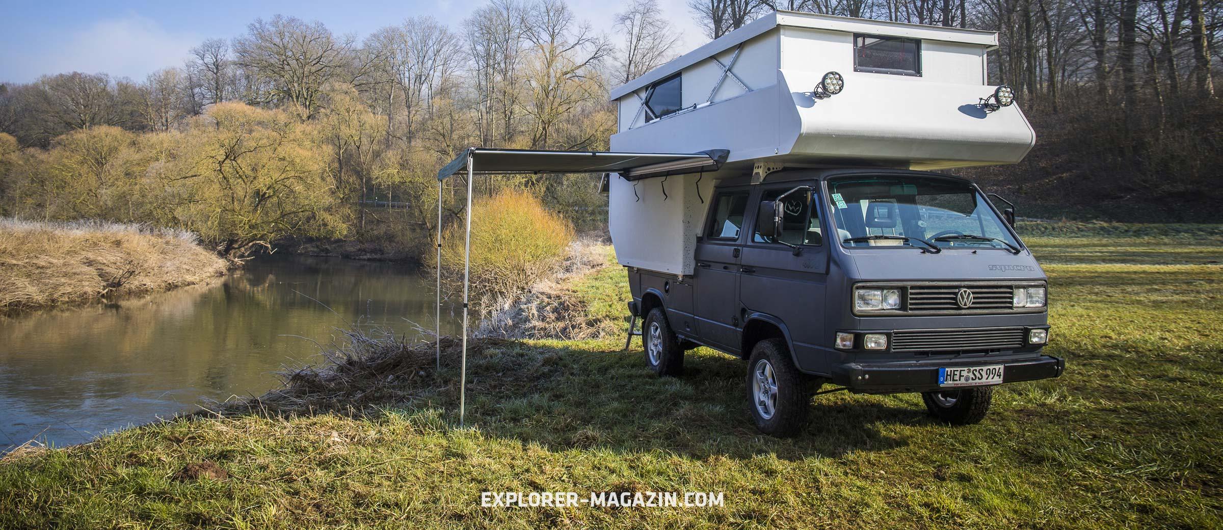 VW T3 Syncro Wohnmobil mit Hubdachkabine selbst gebaut