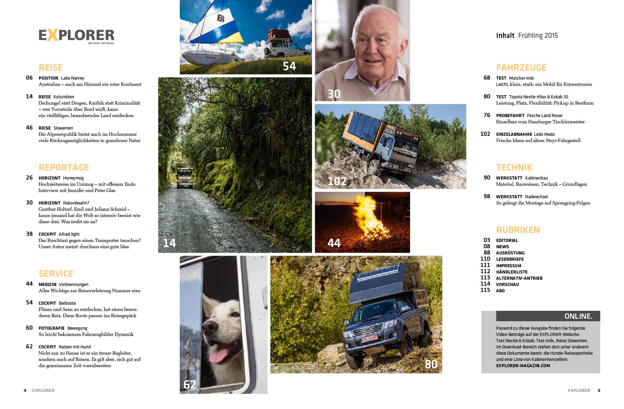 EXPLORER - Frühjahr 2015 - Inhaltsverzeichnis