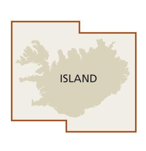 Island Landkarte Blattschnitt
