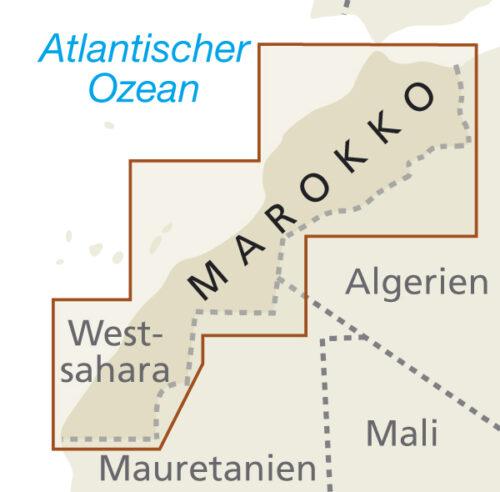 Marokko Landkarte Blattschnitt