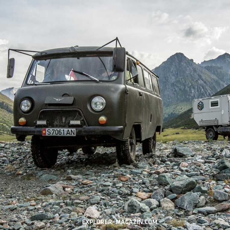 Kirgistan Offroad entdecken im UAZ Allrad-Van und Unimog