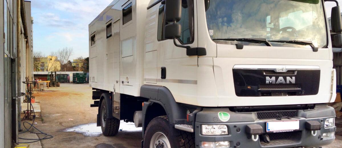 Expeditionsmobil MAN TGM 13.290 4X4 BL Langer & Bock mit Dampfbad gebraucht zu verkaufen