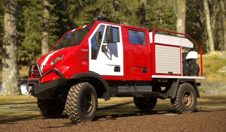 Der Graelion wurde konzipiert für Einsätze auf schlechten Wegen in unzugänglichen Regionen, um schwer erreichbaren Brandherde zu erreichen